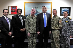 (L to R) - Mr. Roberto Arbitrio, Chief of OED, Judge Hatem Aly, Head of UNODC for the GCC Countries, Vice Admiral John Miller, Commander, U.S. Naval Forces Central Command, U.S. Fifth Fleet, Combined Maritime Forces, Mr Yury Fedotov, Under-Secretary General of the United Nations, Executive Director of UNODC, Commodore Keith Blount, Royal Navy, Deputy Commander Combined Maritime Forces, and Commodore Daryl Bates, Royal Australian Navy, Commander of CTF 150.