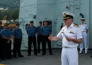 Commander Combined Task Force 150, Commodore Daryl Bates, Royal Australian Navy addresses the ships company of HMCS TORONTO in Port Victoria, Seychelles.