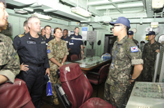 Crew members of FS Siroco enjoying a ship tour on the ROKS Kang Gam Chan
