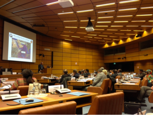 Captain Bill Nault USN, CMF Chief of Staff, presents to international delegates at the UNODC Conference on Narcotics Trafficking in South-West Asia, in Vienna, Austria