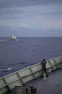 HMAS Darwin approaches French fishing vessel, Cap Saint Vincent, to respond to a distress signal sent from the boat.