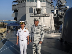 Commodore Ali Abbas (r) with Captain Koji Tachikawa, Commander of 8th Escort Division for Deployment Surface Force for Counter Piracy Enforcement (DSPE)(l).