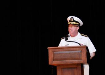Vice Adm. John W. Miller, commander, U.S. Naval Forces Central Command, U.S. 5th Fleet, Combined Maritime Forces, delivers his speech during the Combined Task Force (CTF) 151 change of command ceremony.
