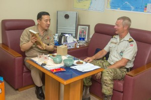 Rear Admiral Cho Young Joo and Commodore Jensen on board the ROKS Munmu the Great.