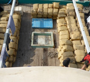 Over six tons of hashish found concealed onboard a dhow by HMAS Darwin's boarding team.