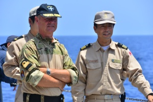 Commodore Aage Buur Jensen, Commander CTF-508, and Captain Tsutomo 'Tom' Okawa, Commanding Officer of JS Takanami