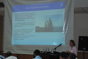 Ms Ifigenia Metaxa from the World Food Programme explaining the importance of sea freight to Somalia