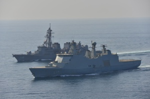 JS Takanami exercising with HDMS Esbern Snare (foreground)