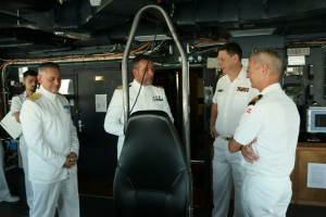 "Outgoing commanding officer of ITS Andrea Doria, Commander Gianfranco Annunziata, providing a tour to the ""Big 3"""