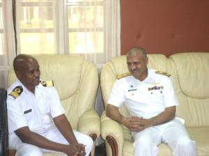 Commodore Mahmood meeting Brigadier General CM Khariri at Navy Headquarters in Mombasa.