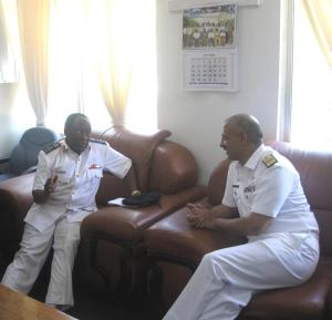 Commodore Mahmood in discussion with Brigadier General SO Semtaua, Deputy Commander Tanzanian Navy Headquarters in Dar Es Salaam.