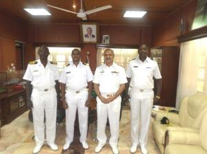 Commodore Mahmood with Brigadier General CM Khariri Deputy Commander Kenya Navy, Colonel TN Nganga Chief of Logistics Kenya Navy and Colonel JS Kiswaa Chief of Operations Kenya Navy.