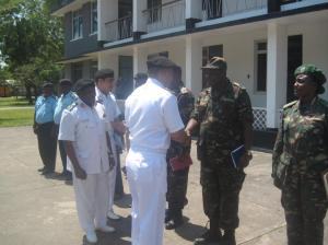 Commodore Mahmood meeting staff at the Tanzanian Navy Headquarters in Dar Es Salaam.