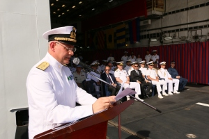 Rear Admiral Guido Rando addresses the Change of Command ceremony held onboard the EUNAVFOR flagship ITS Andrea Doria