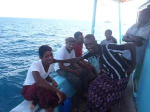 Dhow crew relieved to be rescued by JS Takanami