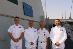 "The ""Big 3"" with outgoing commanding officer of ITS Andrea Doria, Commander Gianfranco Annunziata"