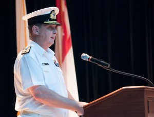 Commodore Tony Millar from the Royal New Zealand Navy, the outgoing Commander of the CTF-151
