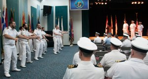 The outgoing New Zealand CTF-151 team perform the Royal New Zealand Navy Haka