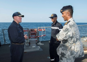 Commanding Officer of USS Dewey Commander Mikael Rockstad, meeting RSNF and Yemeni Sea Riders during Focused Operation Taawun al Behr.