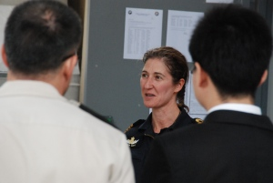 Captain Louisa Gritt from the Royal New Zealand Navy and outgoing Chief of Staff for CTF-151 briefs Ambassadors and Senior Representatives about the role and achievements of CMF's counter-piracy task force