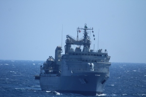 RSNF ship HMS Yanbu in action during Focused Operation Taawun al Behr.