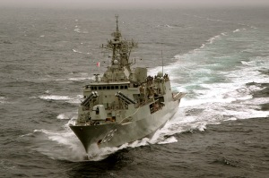 HMAS Toowoomba prepares to make her approach to RFA Wave Ruler in order to conduct a replenishment at sea while on Operation Manitou.