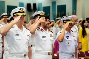 Rear Admiral Jim Loeblein, Deputy Commander US Naval Forces Central Command and US Fifth Fleet, Captain Suliman Alenzani, Commander CTF-152, and Rear Admiral Pakorn Wanich, Commander CTF-151