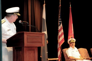 Vice Admiral John W Miller, the US Navy's Fifth Fleet Commander and Commander of the Combined Maritime Forces, addresses Commodore Sajid Mahmood SI(M) Pakistan Navy, outgoing Commander CTF-150