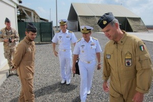 Commander Combined Task Force 151, Rear Admiral Pakorn Wanich met with Colonel Elio Volpari, Italian Task Force Air Commander, in Djibouti on 9th December2014