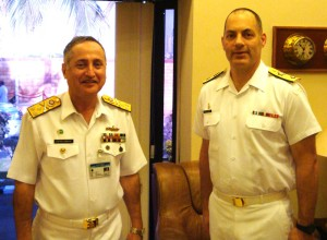 Commander Combined Task Force 150, Commodore Brian Santarpia (right), met with the Commander of the Pakistan Fleet, Vice-Admiral Zafar Mahmood Abbasi (left), in Karachi during a two day visit on 8/9 December 2014