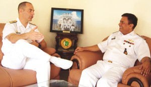 Commodore Santarpia (left) and Commodore Rehan Aziz Khan (right), Deputy Director General Pakistan Maritime Safety Agency, discuss ways to enhance interoperability and cooperation between the two organisations