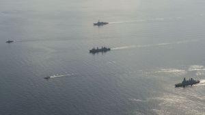 CTF-150 ships demonstrate their resolve L-R: USS Dewey, USS Firebolt, HMAS Success, USCGC Maui and HMS Dauntless