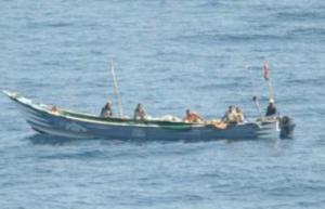 A disabled Yemeni fishing vessel drifting in the Gulf of Aden