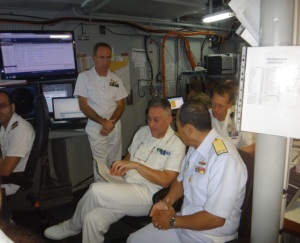 Rear Admiral Guido Rando from the Italian Navy and Commander of CTF-465 and Rear Admiral Pakorn Wanich from the Royal Thai Navy and Commander CTF 151 discussed maritime security issues onboard ITS Andrea Doria