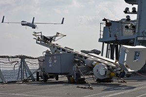 HMS Kent uses her Scan Eagle UAV