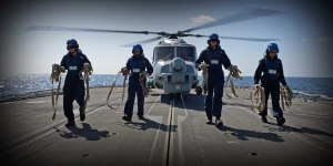 HMS Kent's Lynx Helicopter conducts surface searches