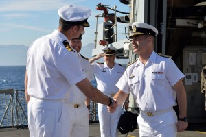 Commodore Santarpia meets Commander Andrew Block Royal Navy, Commanding Officer of HMS Kent