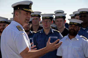 Commodore Santarpia addressing HMS Kent's Ship's Company