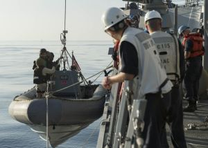 Sailors aboard USS Dewey lower a rigid-hull inflatable boat into the water during small boat operations (U.S. Navy photo by Mass Communication Specialist 3rd Class James Vazquez/Released)