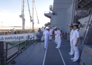 Rear Admiral Pakorn Wanich from the Royal Thai Navy and Commander CTF-151 welcomed onboard the JS Harusame