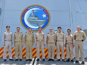 The delegation from JS Harusame were warmly welcomed by the crew of Turkish warship TCG Buyukada