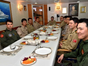 The Japanese delegation were treated to a traditional Turkish lunch onboard the TCG Buyukada