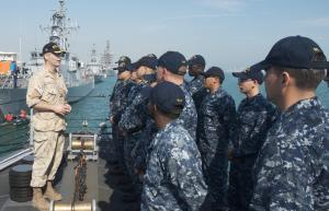 Commodore Brian Santarpia from the Royal Canadian Navy and Commander CTF-150 visited both ships to thank the crews for their outstanding contribution to the mission.  This is him onboard USS Thunderbolt.