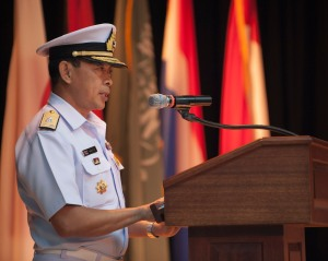 Rear Admiral Pakorn Wanich gives thanks to those who have contributed to his counter-piracy mission