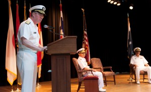 Vice Admiral John W Miller addresses the CTF-151 Change of Command ceremony
