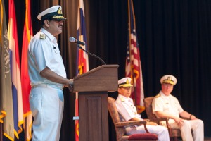 Commodore Asif Hameed Siddiqui SI(M) addresses the CTF-151 Change of Command ceremony as the new counter-piracy Combined Task Force Commander