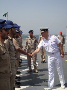 Commodore Santarpia welcomed on deck by members of the Royal Saudi Naval Force