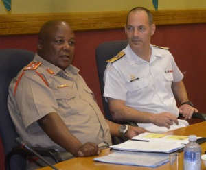 Commander CTF-150, Commodore Brian Santarpia, and Chief Director Operations, Major General DD Mdutyana, discuss cooperation opportunities off the East Coast of Africa.