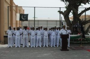Commodore Asif Hameed leads the celebrations of the 76th Pakistan Day at CMF
