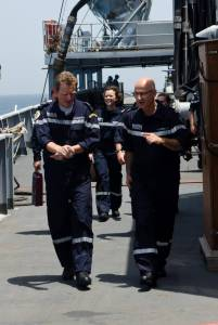 CTF150 Commander, Capt. René-Jean Crignola, welcomes TF473 Commanding officer, Rear Admiral Eric Chaperon, onboard the FS Var, April 19.